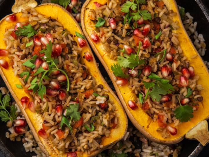 Butternut Boats with Red Rice Stuffing